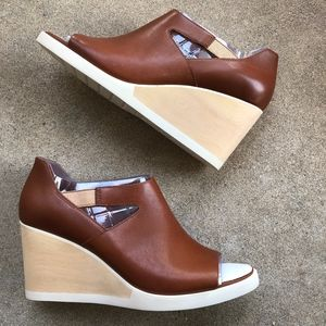 New CAMPER Brown Leather Limi Wedge Sandals